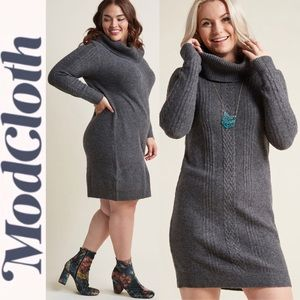 ModCloth Sweater Dress with Cowl Neck in Grey